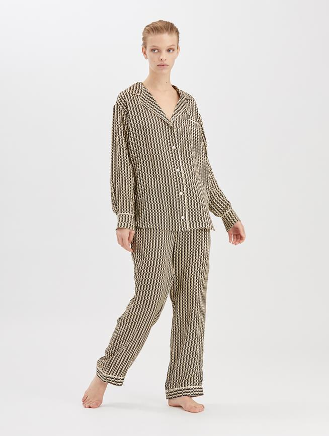 Stripey Dots Satin-Crepe Pajama Shirt  Black/Beige