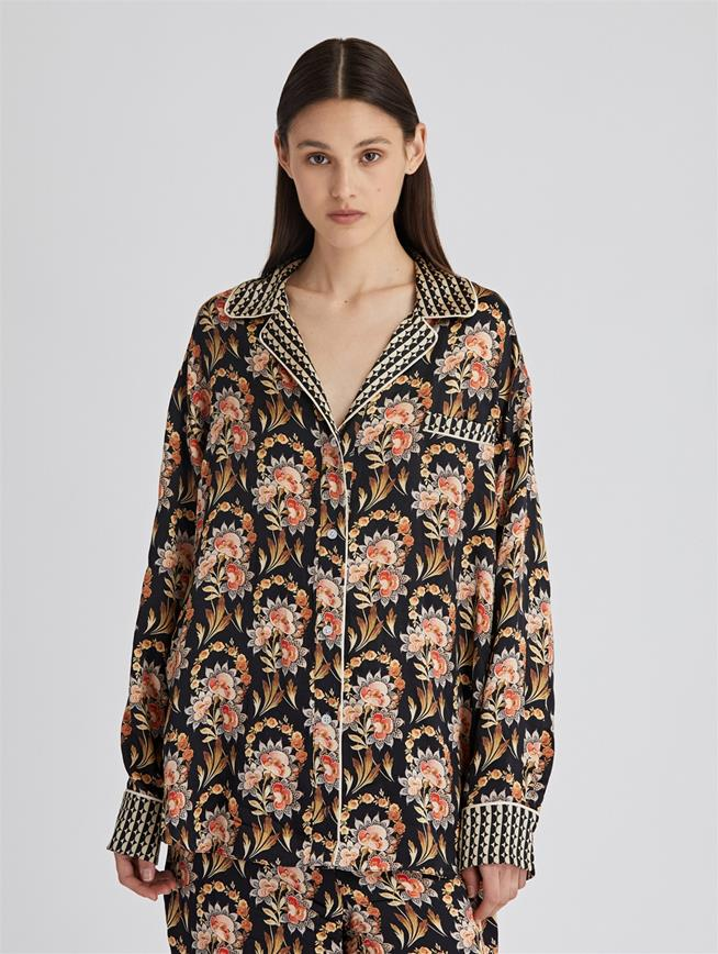 Tapestry Floral Satin Crepe Pajama Shirt  Black Multi