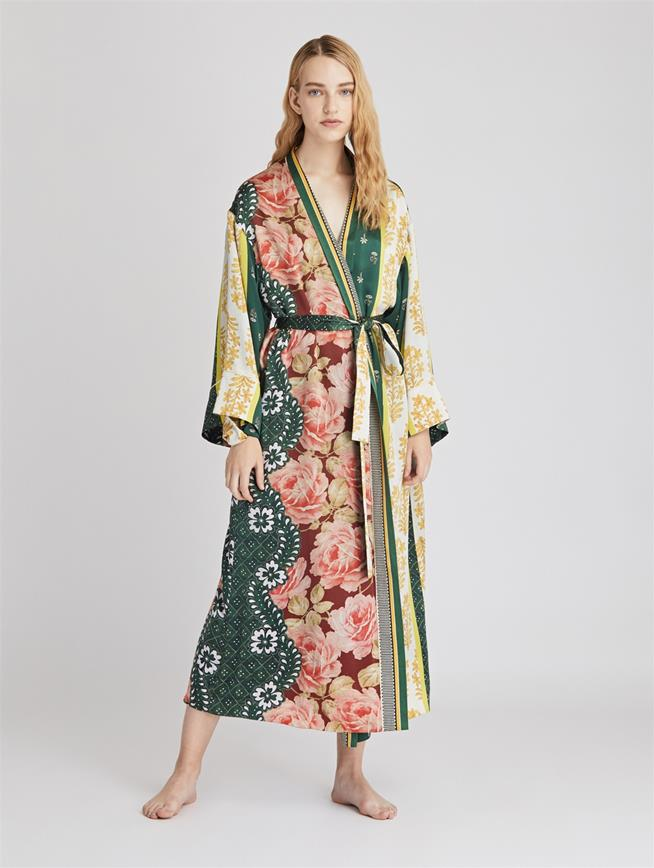 Patchwork Stripe Satin Crepe Long Robe  Spruce/Multi
