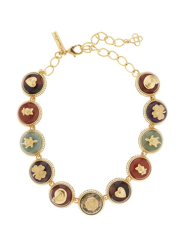 Semiprecious Disk Necklace  MULTI
