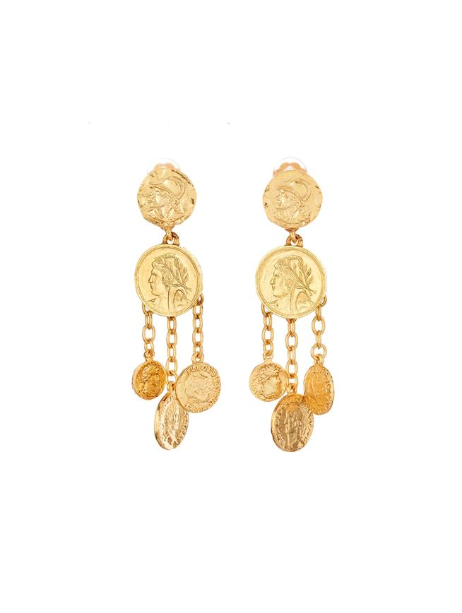 Chandelier Coin Earrings  Gold