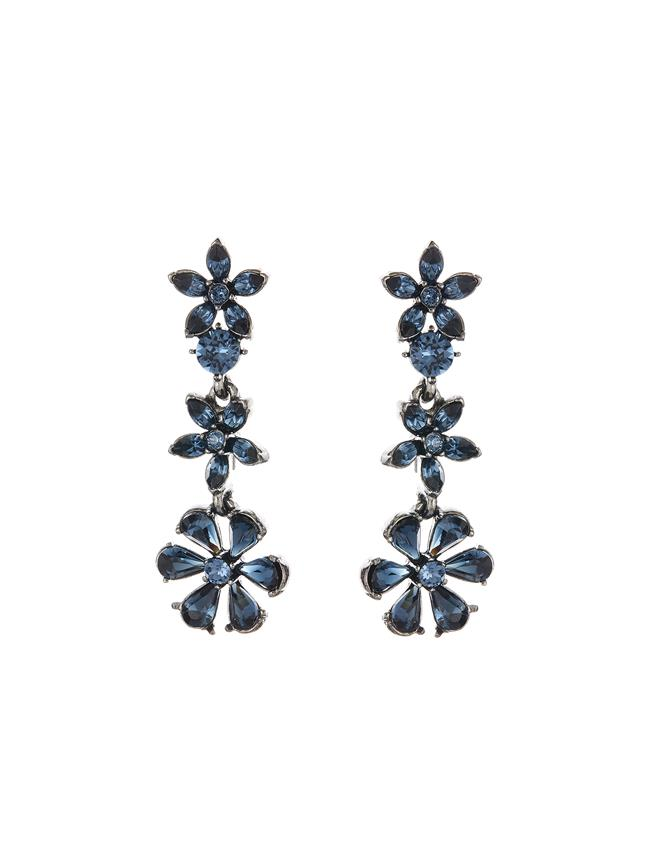 Crystal Star Drop Earrings  Navy
