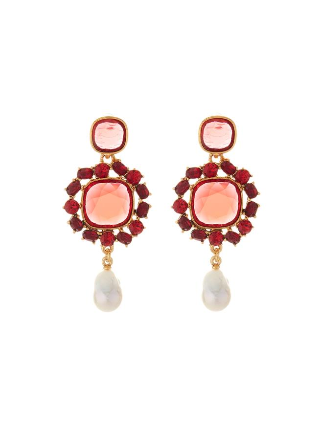 Jewel and Baroque Pearl Earrings  Cayenne