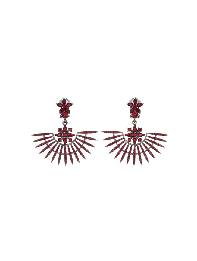Pavé Point Fan Earrings  Cayenne