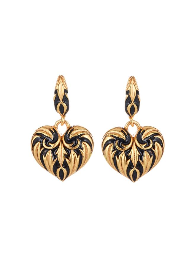 Painted Heart Earrings  Black