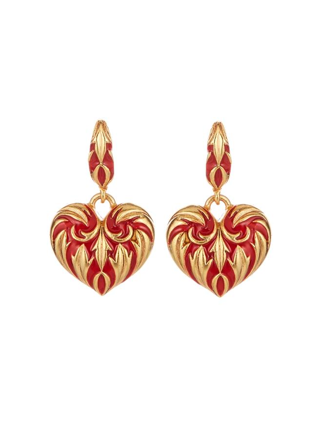 Painted Heart Earrings  Cayenne