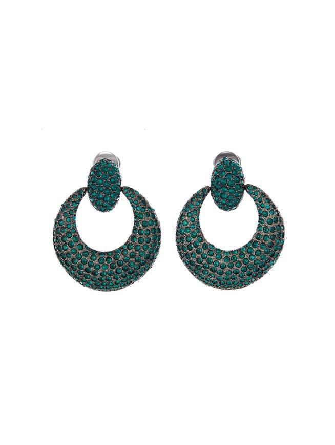 Pavé Knock Hoop Earrings  Emerald