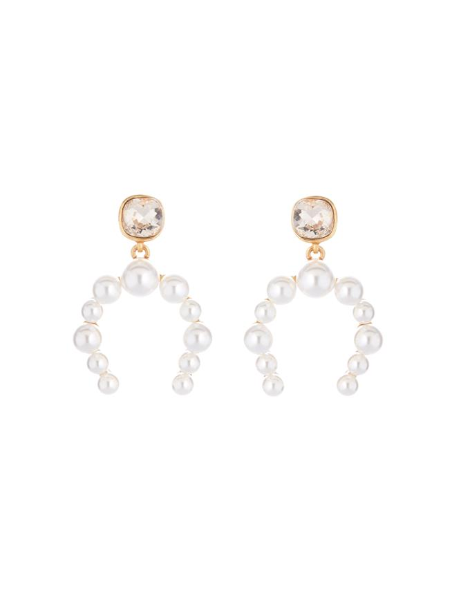 Crystal and Pearl Half Hoop Earrings  Silk