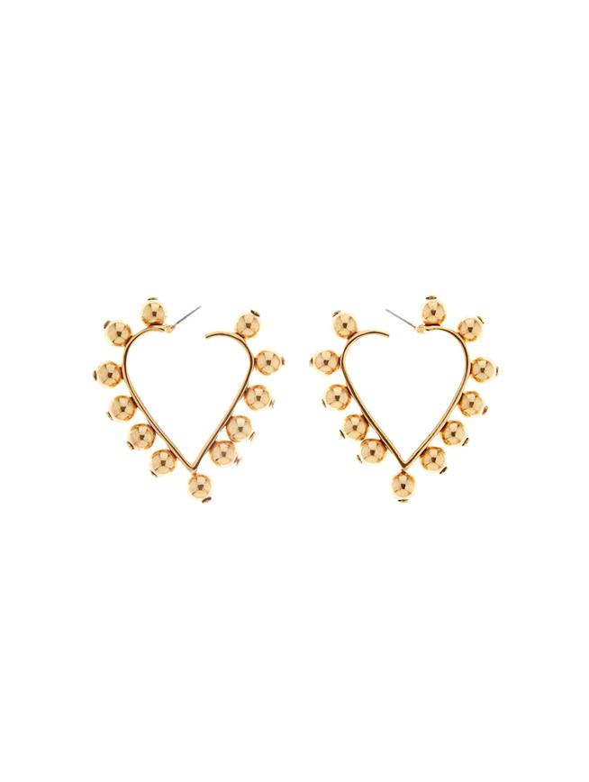 Studded Heart Earrings  Gold