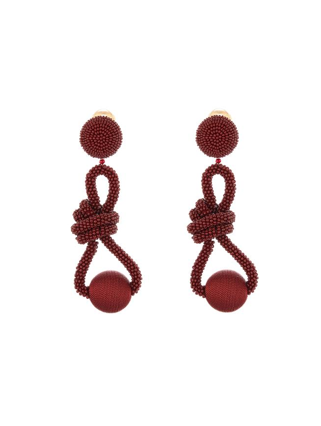 Beaded Knot Earrings  Claret