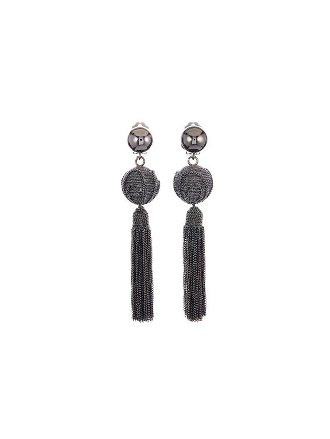 Chain Tassel Earrings  Gunmetal