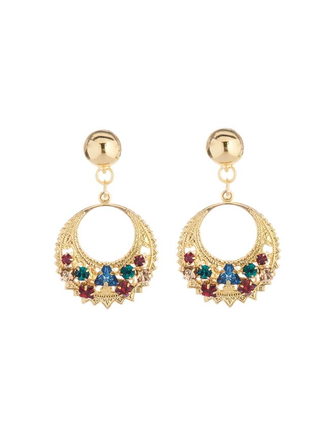 Embroidered Crescent Earrings  MULTI