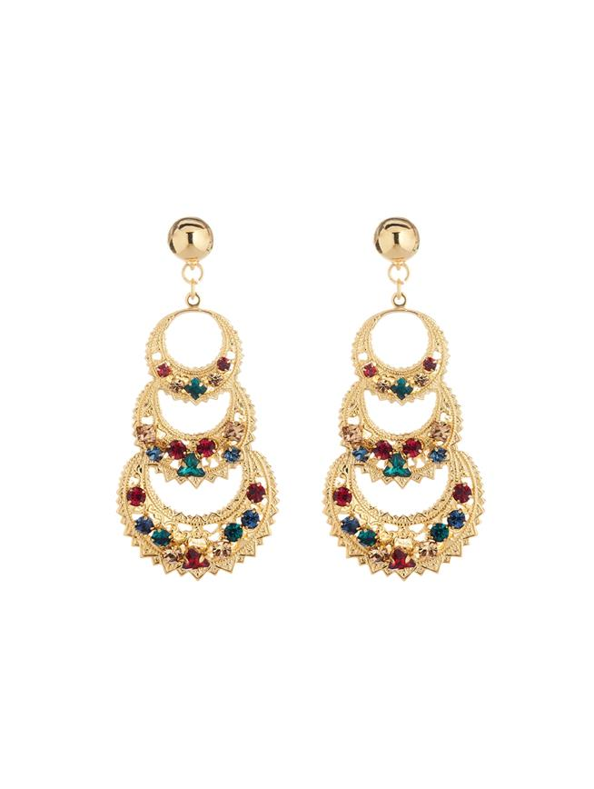 Embroidered Triple Crescent Earrings  MULTI