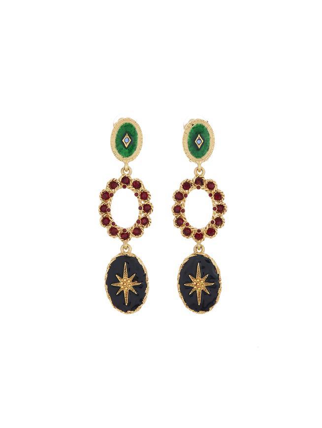Triple Drop Earrings  Gold Multi