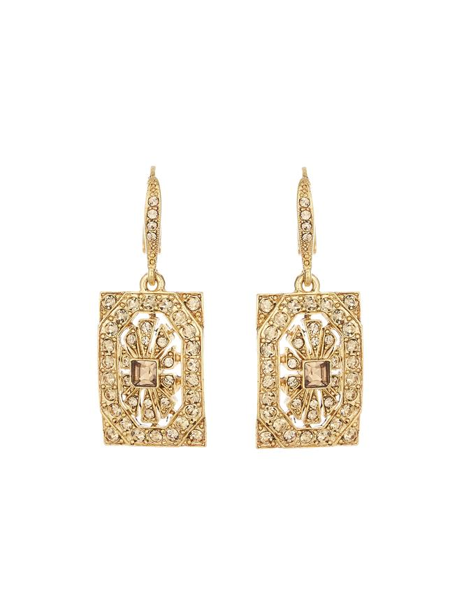 Crystal Square Earrings  Light Topaz