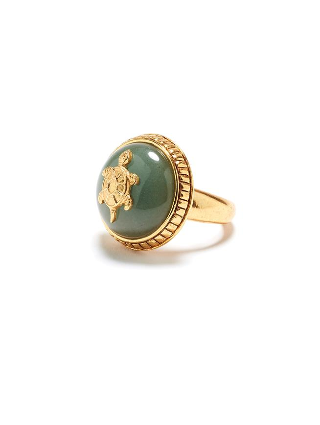 Semiprecious Disk Ring  Juniper