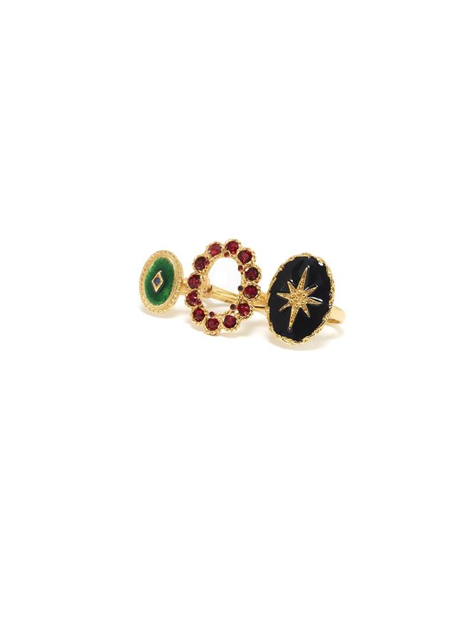Double Finger Ring  Gold Multi