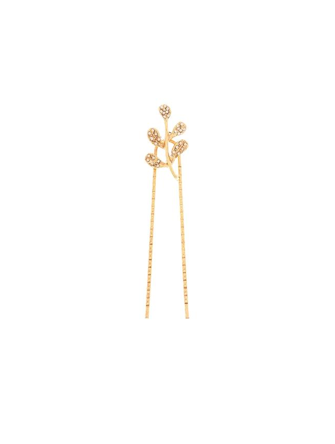 Crystal Leaf Hair Pin  Gold