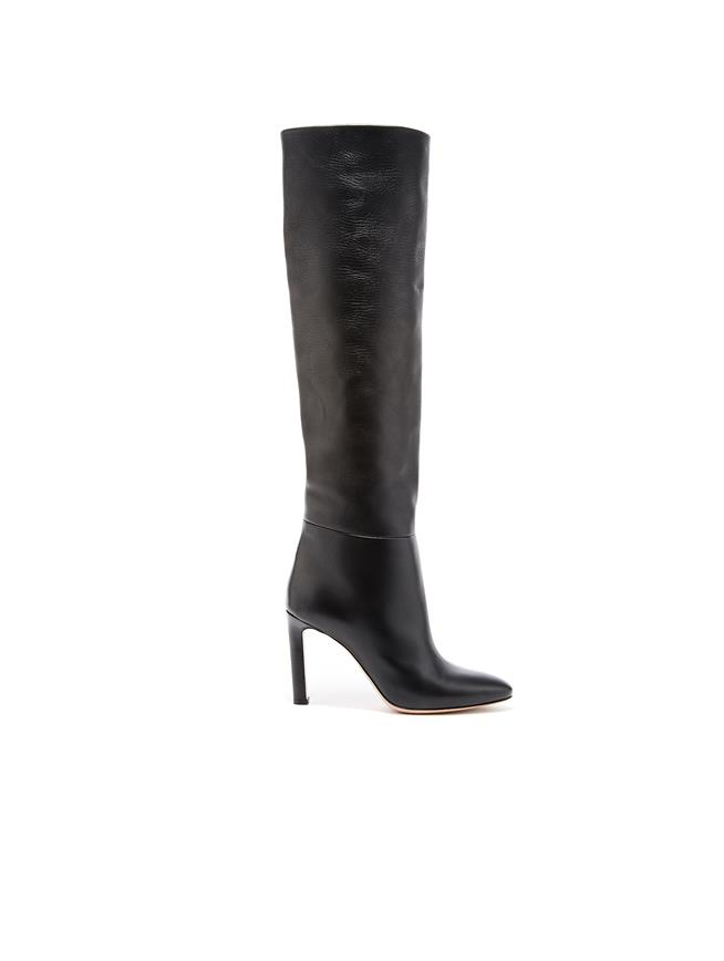 Black Leather Margot Knee-High Boot Black