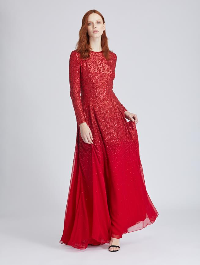 Ombré Embroidered Silk-Chiffon Gown Tomato/Tomato