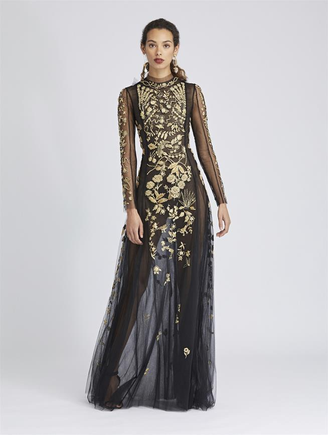 Embroidered Tulle Gown Black