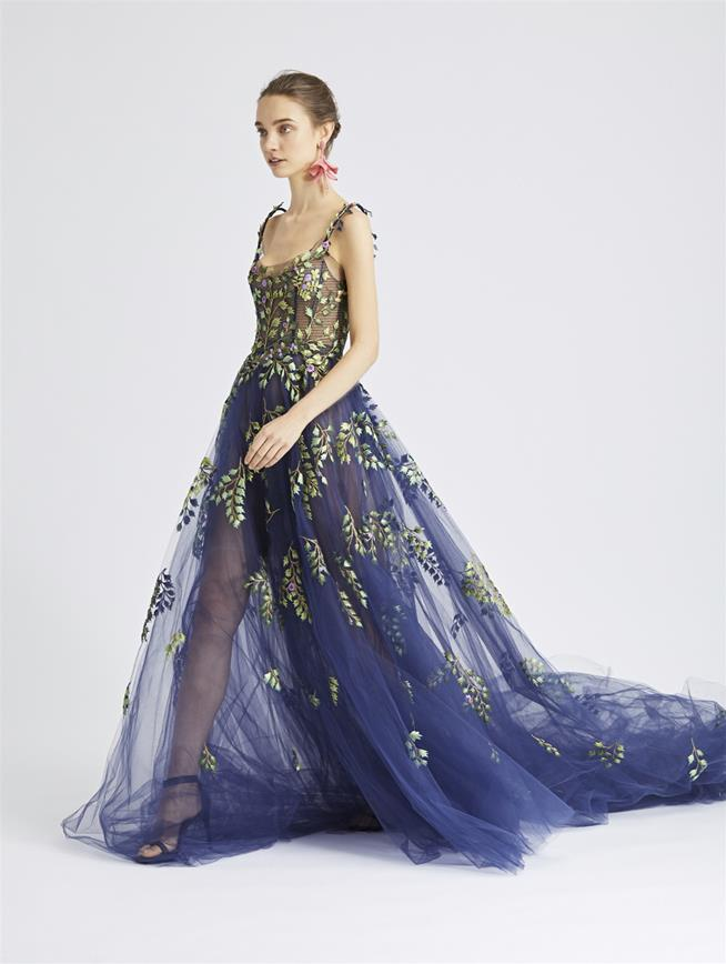 Botanical Branch-Embroidered Tulle Gown Navy/Multi