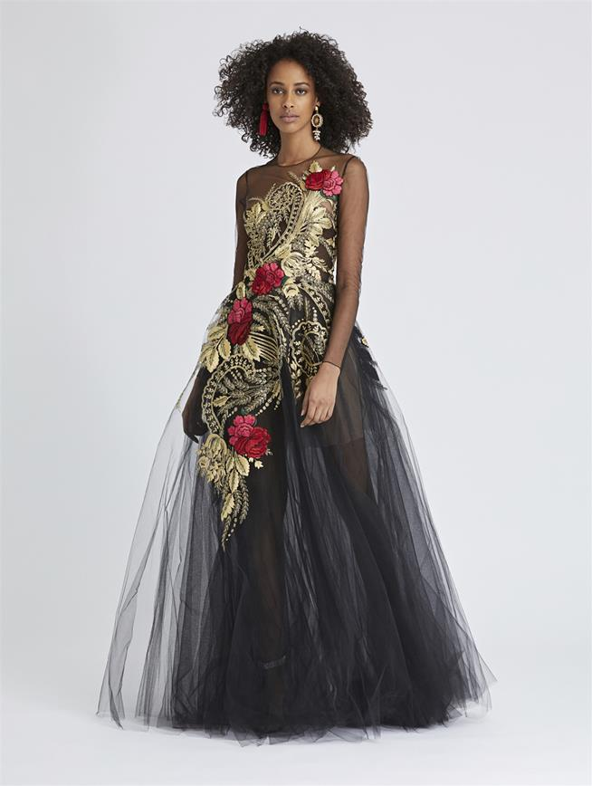 Metallic Floral-Embroidered Tulle Gown Black