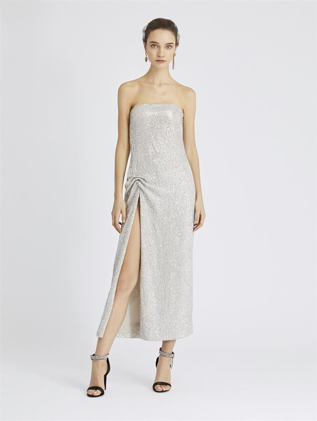 Sequin-Embroidered Silk-Chiffon Gown Nude/Silver