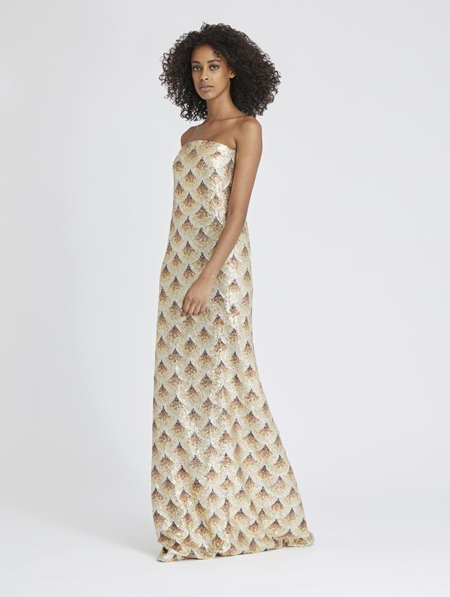 Fan-Embellished Silk-Chiffon Gown Ivory/Gold