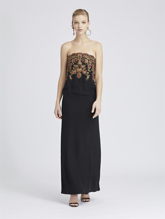 Beaded Silk-Georgette Gown Black