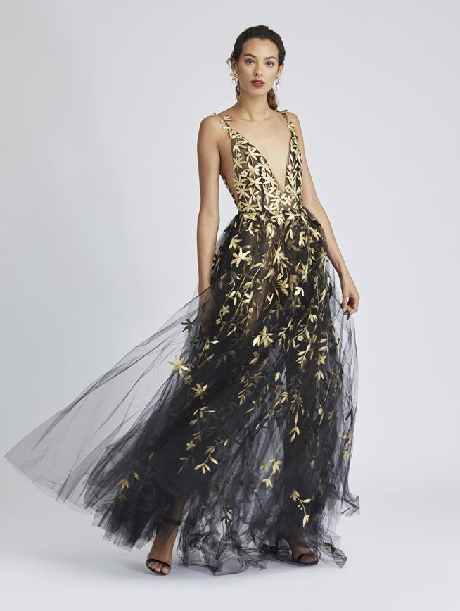 Floral-Embroidered Tulle Gown Black/Gold