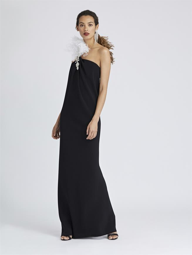 One-Shoulder Feather and Cady Pesante Gown Black