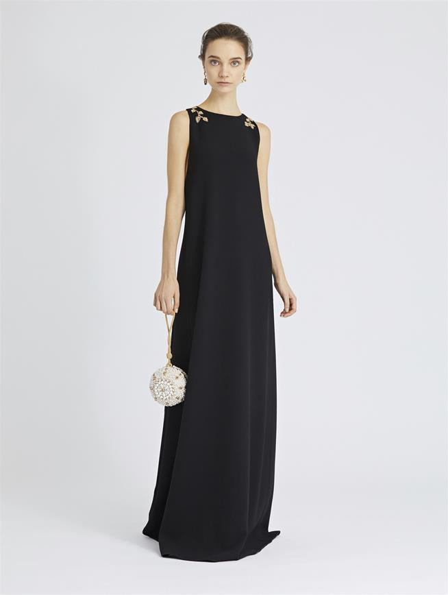 Leaf-Embroidered Stretch-Wool Crepe Gown Black