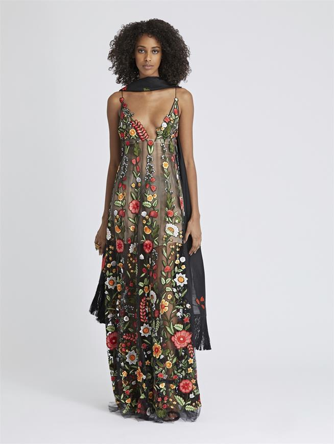 Floral-Embroidered Tulle Gown Black