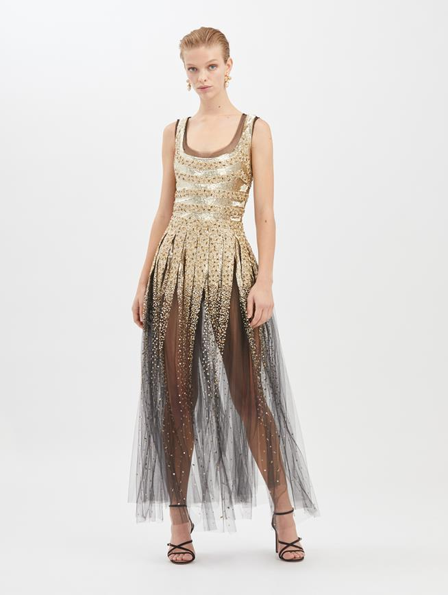 Striped Sequin-Embroidered Tulle Gown Black/Gold