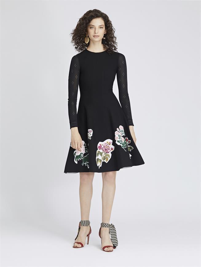 Scrapbook Floral-Embroidered Knit Dress Black