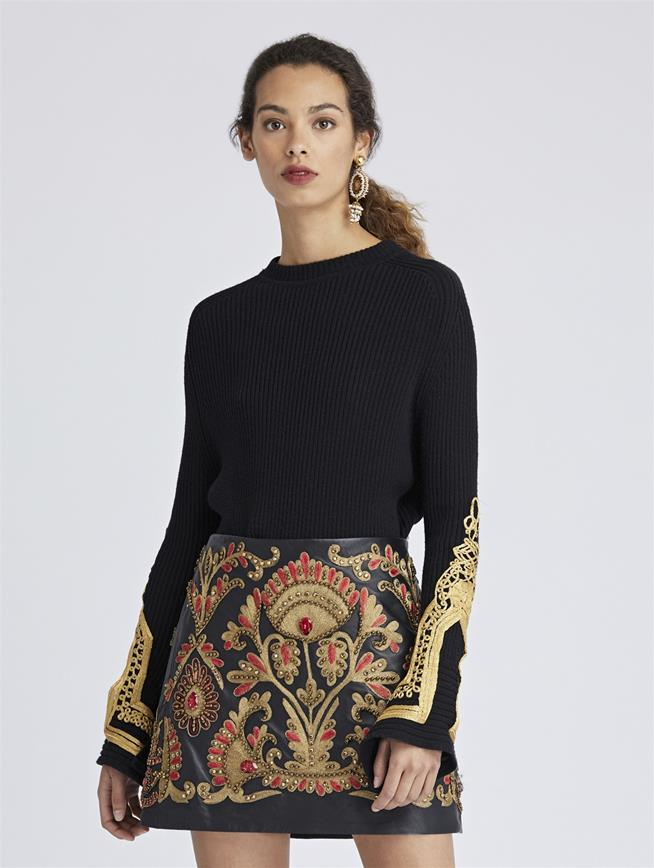Embroidered Merino Wool Pullover Black