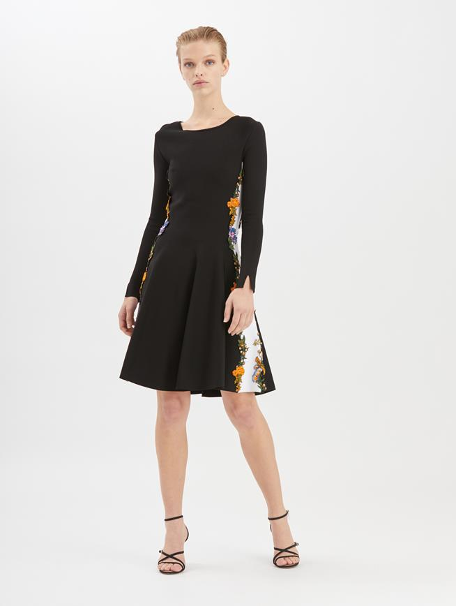 Floral-Embroidered Two-Tone Knit Dress Black/White