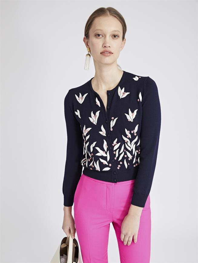 Leaves and Berries Embroidered Merino Cardigan Navy