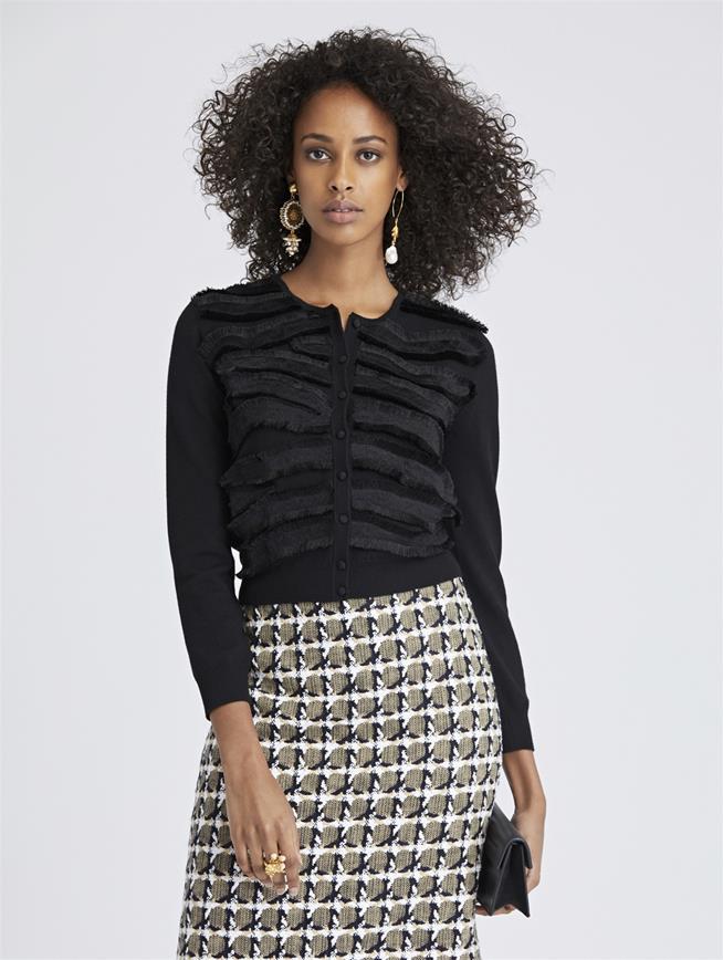 Zebra-Embroidered Merino Cardigan Black