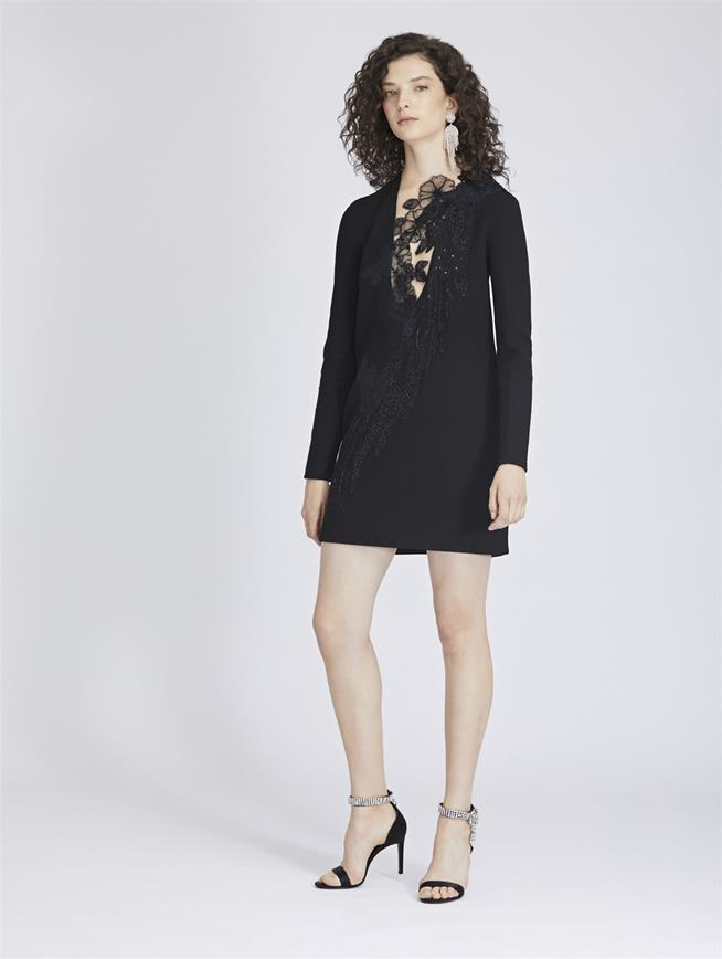 Beaded Stretch-Wool Crepe Dress Black