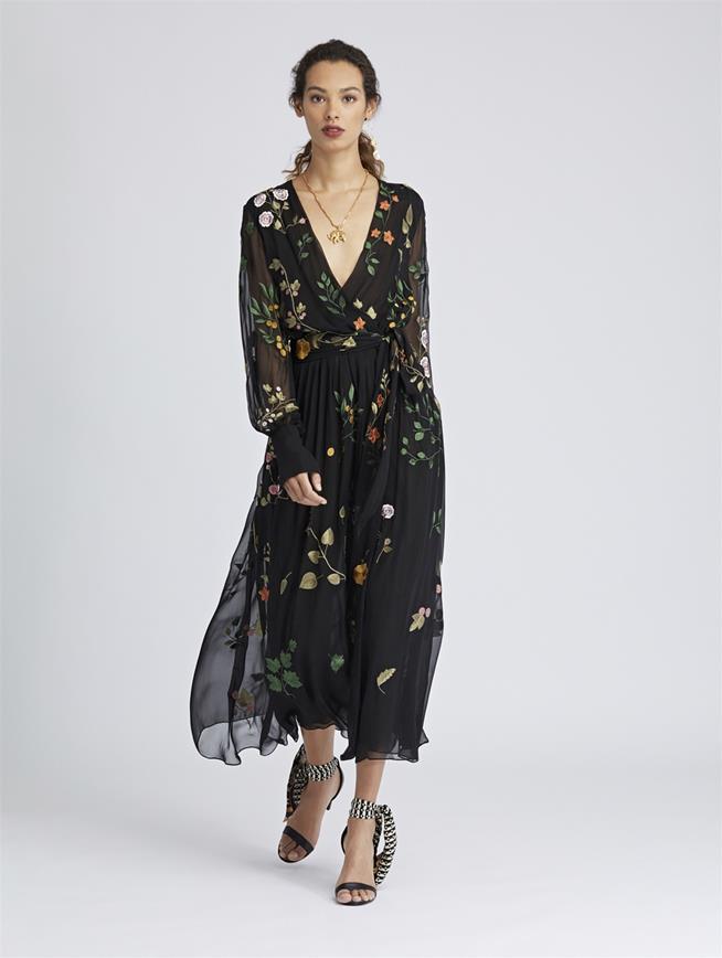 Botanical Leaf-Embroidered Silk-Chiffon Wrap Dress Black