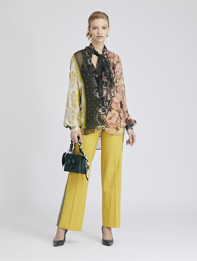 Embroidered Stretch-Wool Gabardine Pants Ochre