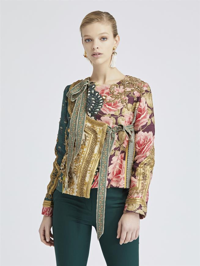 Patchwork Stripe Silk Tussah Jacket Spruce/Multi