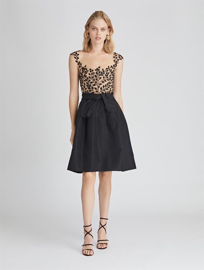 Leaf-Embroidered Tulle and Silk-Faille Cocktail Dress Navy/Black