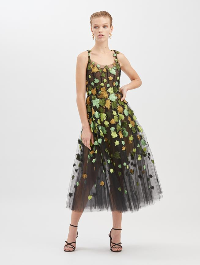 Leaf-Embroidered Tulle Cocktail Dress Black