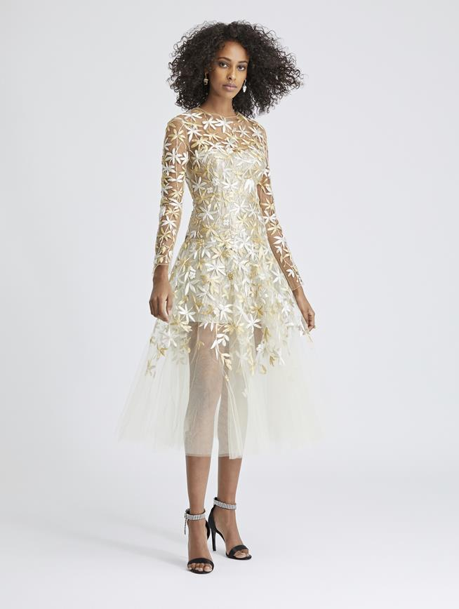 Floral-Embroidered Tulle Cocktail Dress Beige