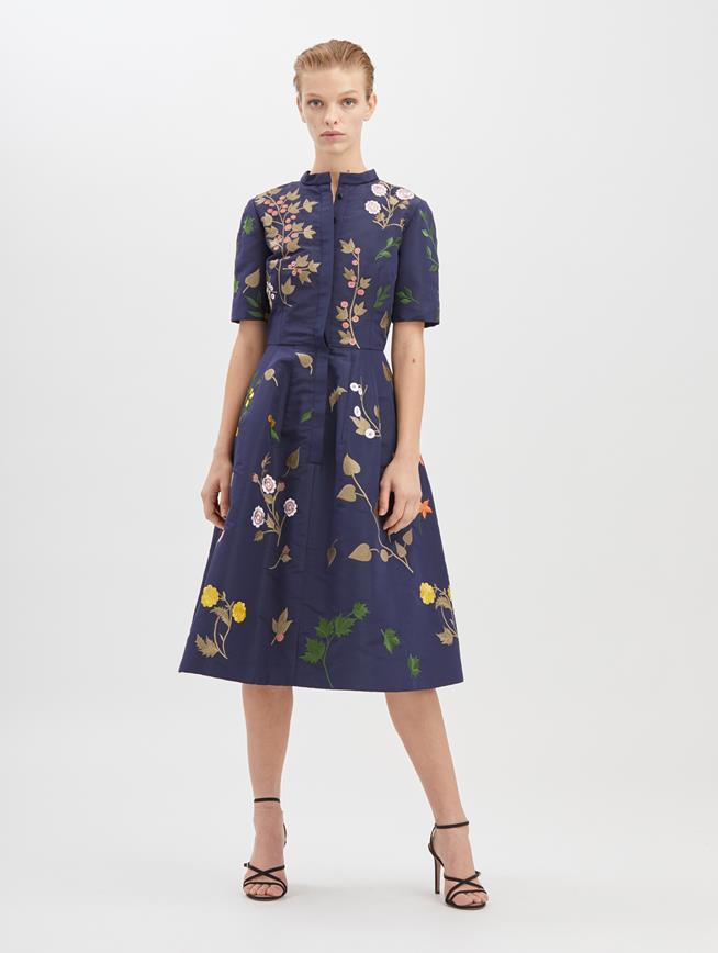 Botanical Embroidered Silk-Faille Dress Navy/Multi