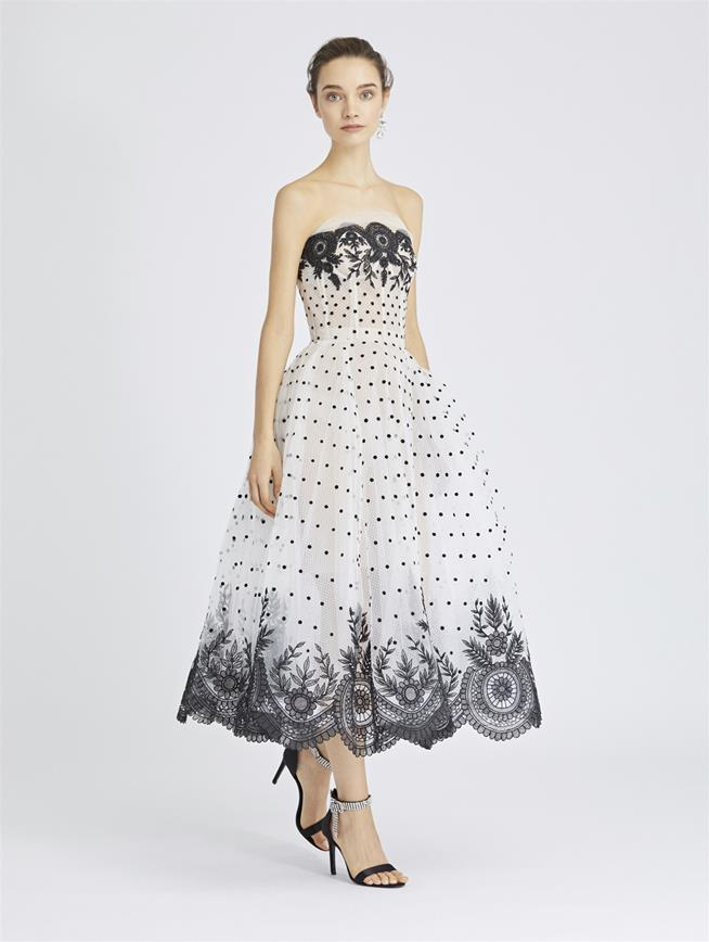 Lace and Embroidered Tulle Cocktail Dress Ivory/Black
