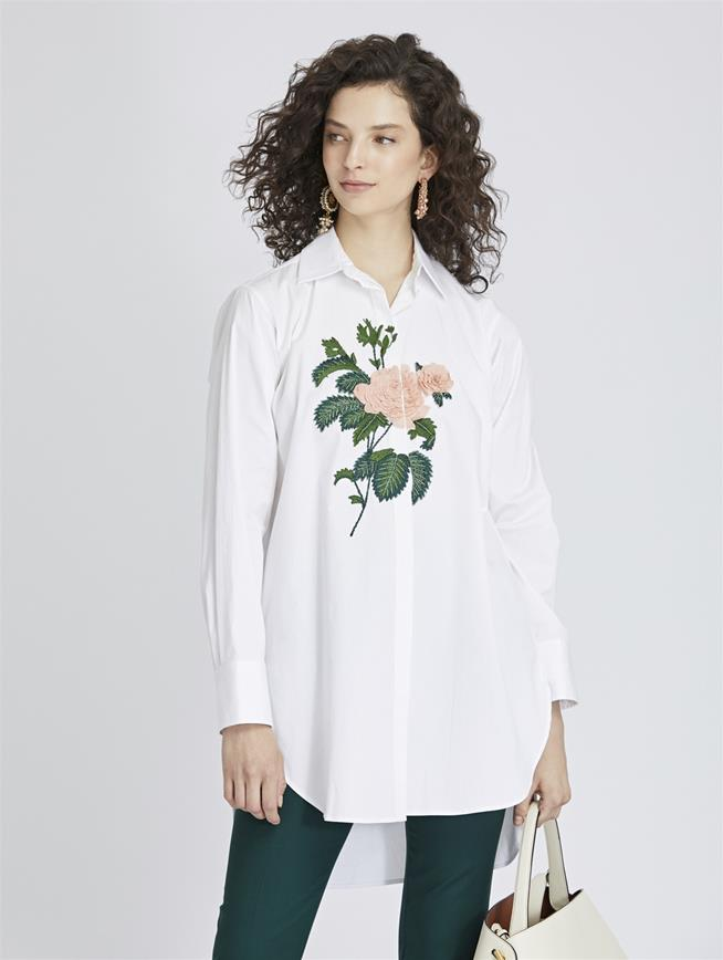 Rose-Embroidered Stretch-Cotton Poplin Blouse White/Blush